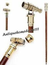 Antique Style Brass Telescope Handle Vintage Victorian Walking Wooden Cane Stick