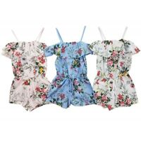 Baby Girl's Flower Print Playsuit Cotton Romper Strappy Outfit Age 6m-14 Years