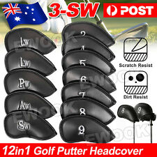 12PCS PU Leather Head Cover Golf Iron Club Putter Headcover 3-SW Set OZ