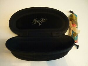 MAUI JIM BLACK CLAM SHELL HARD ZIPPER GLASS CASE NEW WITH COLORFUL POUCH!