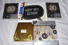 30th Birthday Party Decor, Gold and Black, Balloons, Invitations, Swirl Decor