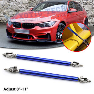 "Adjust 8""-11"" Blue Front Bumper Diffuser Splitter Support Bars For BMW 3-Series"