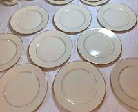"9 Lenox USA Cosmopolitan Collection HAYWORTH Dinner Plates Gold Trim 10 3/4"" EUC"