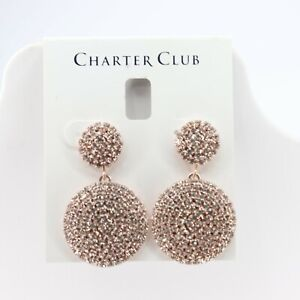 Charter Club NWT RoseGold Tone Crystal Pave Drop Earrings