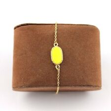 Yellow Oval Acrylic Anklet or Bracelet Gold Tone Chain FAST SHIP USA