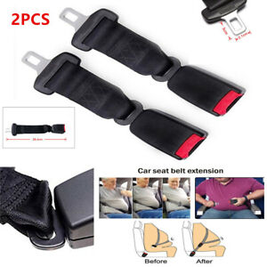 2pcs Black Interior Car Seat Seatbelt Extender Safety Belt Extension Buckle 36cm