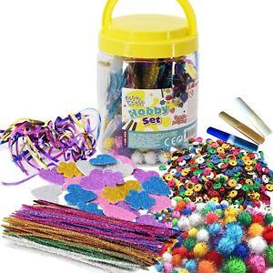 Kids Art & Craft Jar Mega Art Set Pom Poms Beads Paper Foam Glitter Hearts Glue