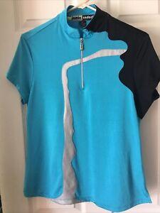 Jamie Sadock Golf Top Sz Medium Silky Stretch Short Sleeves 1/3 Zip Blue Black