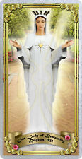 Our Lady of Beauraing Belgium laminated Holy Prayer card. Statue of Mary Art