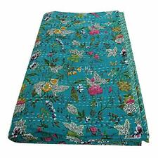 Indian Handmade King Size Kantha Quilt Throw Reversible Bedspread Vintage Cotton