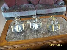 Antique Brass & Etched Glass 3 Electric Hanging & Wall Mount Lighting Starburst