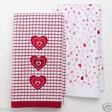 2 Pc Set Happy Valentine's Day Holiday Kitchen Towels Window Pane Hearts & Arrow