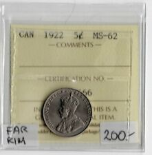 Canada 1922 5 Cents Far Rim ICCS Certified MS-62 XUV 666