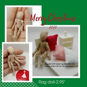 "Rag doll-2,95"",blank rag doll, Mini doll, doll fabric, Scale 1:24, for the doll"