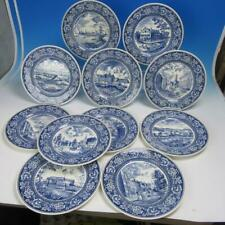 "Wedgwood Blue Transferware Old New York - Series of 11 Unique 10½"" Dinner Plates"