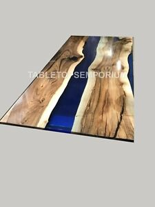 Custom Kitchen Table Epoxy River Table Blue Dining table with Live Edge Design