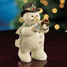 Trumpet Playing Snowman Figurine - Lenox Fine China & Gold Sculpture -Cute! New