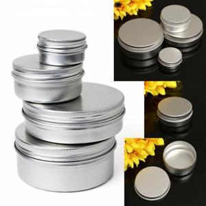 5-250ml Empty Aluminium Cosmetic Pot Jar Tin Container Box Screw Lid Craft