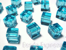 100 Crystal Glass Cube Beads - Aqua 4mm (BC4014)