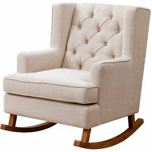 Devon & Claire Fletcher Beige Fabric Rocker Chair