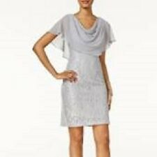 Jessica Howard Silver Stretch Lace Chiffon Capelet Social Dress 16W $109 PLUS