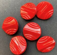 Striking Vintage Red Glass Buttons - 1.8cm - 6 of them