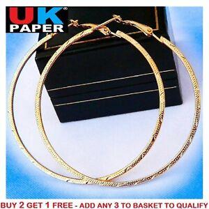 NEW PAIR OF BIG GOLD PLATED HOOP EARRINGS LARGE CIRCLE HOOPS HOT LADIES GIFT UK