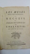 Rare book old THE MUSES HELVETIENNES 1775 antique book