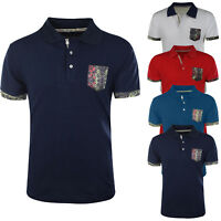 Polo Uomo Taschino Cotone Mezza Manica Corta Maglietta Slim Fit T-Shirt Casual