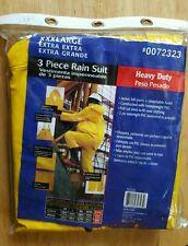 3 PIECE HEAVY DUTY YELLOW RAIN JACKET RAIN SUIT SIZE XXX-LARGE NEW IN BAG
