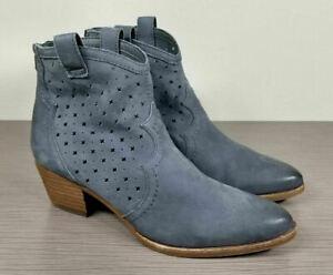 Sam Edelman Reynolds Block Heel Bootie, Stone Blue Nubuck, Womens Various Sizes