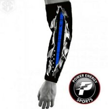 Police Lives Matters Cops Thin Line FLAG Compression Arm Sleeve I Bleed Blue