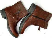 Clarks Womens Ankle Boots Riddle Avant Tan Leather Side Zip Size US 6 1/2 EUR 37
