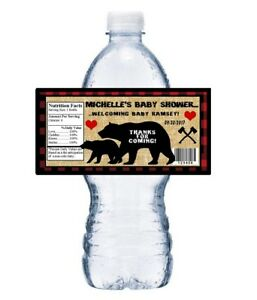 20 LUMBERJACK BLACK BEAR BABY SHOWER PARTY FAVORS WATER BOTTLE LABELS WRAPPERS