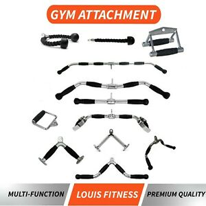 AU Cable Attachment Tricep Rope Handle Push Pull Lat Row Bar Gym Accessory