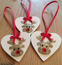 3 X Reindeer Christmas Decorations Shabby Chic Real Wood Heart Glitter Red Bows