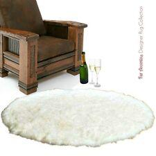 5' Round Shag Faux Fur Sheepskin Throw Rug Plush Area Rug White Fur Accents