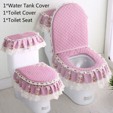 3Pcs Toilet Seat Cover Set Bathroom Floral Lace Lid Pads Water Tank Cover