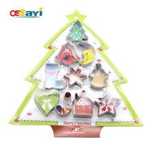 10pcs Metal Cookie Cutter Christmas Set Biscuit Fondant Mold Baking Decor Tools