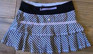 LULULEMON Lavender Purple Gray Striped PACE SETTER Skirt Skort 4