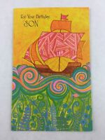 Vintage Son Birthday Card Geometric Ship Card Gibson New Made in USA