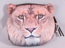 "4.5"" Tan Lion Polyester Zipper Coin Bag Purse Wallet Makeup Bag"