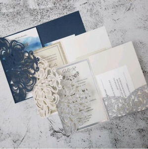 10pcs Tri Fold Gillter pocket Laser Cut Engagement Wedding Invitations Cards