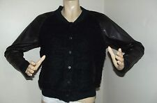 EXPRESS Small BLACK BROWN VARSITY BOMBER JACKET snap coat FAUX LEATHER baseball