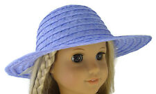 """1970's Style Periwinkle Straw Hat fits 18"""" American Girl Julie Doll Clothes"""