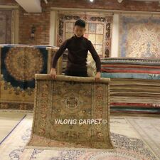 YILONG 4'x6' Floral Handmade Carpet Home Decor Hand Knotted Silk Area Rug 343C