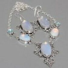 Beautiful Aurora Borealis Opalite & Blue Topaz 925 Silver Necklace Earrings Set
