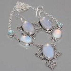 Beautiful Aurora Borealis Opalite & Blue Topaz 925 Silver Necklace Earrings Set