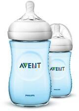 Avent NATURAL BOTTLES - 260ML/9OZ - 2PK - BLUE Baby Feeding BNIP