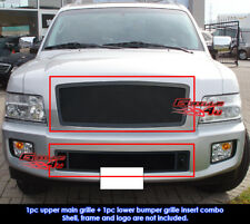 Fits 2004-2010 Infiniti QX56 Stainless Black Mesh Grille Combo